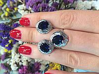 Серебряный комплект: серьги и кольцо с синим фианитом 33157/ск-0031 м