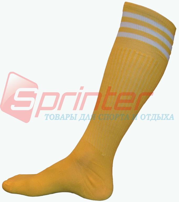 Гетры футбольные детские жёлтые с полосками. М-150