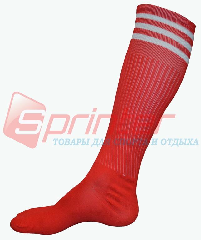 Гетры футбольные взрослые красные с полосками. В-150
