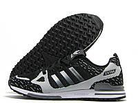 Кроссовки мужские Adidas Flyknit ZX 750 черные с серым (адидас флайнит)