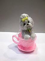Собачка Йорк в чашке - мыло ручной работы на подарок
