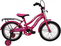 Велосипед 16 дюймов розовый с багажником