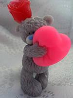 Подарок для влюбленных - мыло Мишка с сердцем и розой