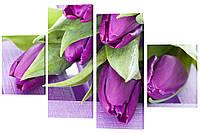 Модульная картина 441 фиолетовые тюльпаны