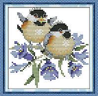 Пение птиц в цветах набор для вышивки крестом с печатью на ткани 14ст