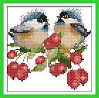 Пение птиц в ягодах набор для вышивки крестом с печатью на ткани 14ст