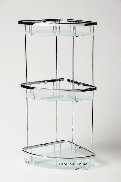 Полочка для ванной угловая тройная овальная со стеклом 19x19