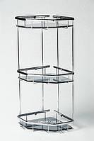 Полочка для ванной угловая из латуни пятиугольная с тонированным стеклом