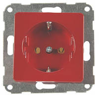 Розетка з заземленням червона-matt FIORENA (гвинт) 16А/250В