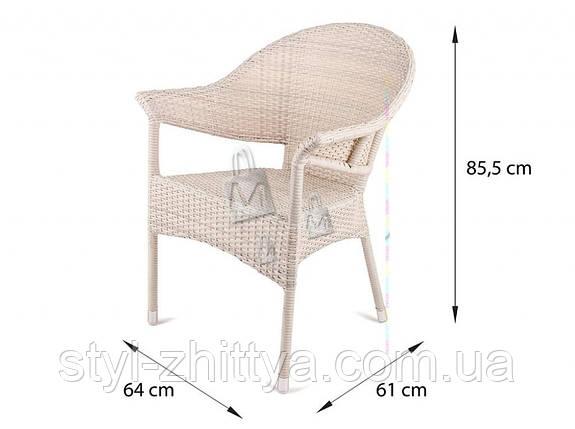 Комплект меблів з білого штучного ротангу. 2 крісла + столик, фото 2