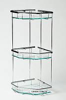 Полочка в ванную тройная пятиугольная с прозрачным стеклом 22 x 22 см