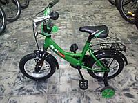 """Детский велосипед для мальчика зеленый 12""""   Velox  Green"""