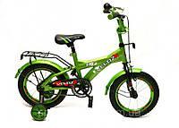 """Детский велосипед зеленый Veloz 14 дюймов (Velox 14"""") с боковыми колесами"""