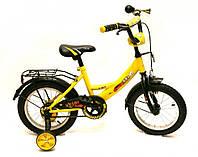 """Детский велосипед с боковыми колесами 14"""" Velox Желтый"""