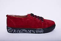 Модные женские кеды замшевые красные на толстых шнурках