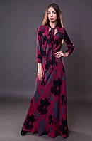 Женское платье в пол с цветочным принтом нарядное