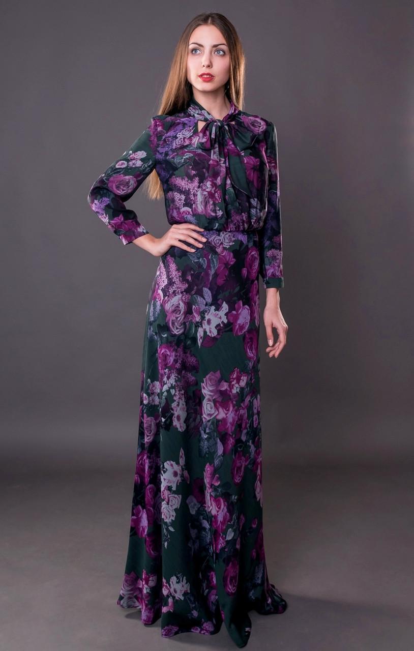 e0d8fd64872dd Женское платье в пол красивое с цветочным принтом - Интернет-магазин  женской одежды