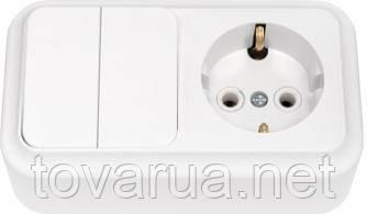 Выключатель двухклавишный + розетка с заземляющим контактом открытой установки