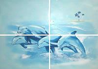 Композиция панно БерезаКерамика ЛАЗУРЬ 50 x 70  4 дельфина комплект 4 шт