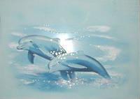 Плитка декор настенная БерезаКерамика ЛАЗУРЬ 25 x 35   2 дельфина