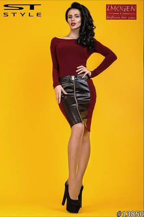 Облегающее трикотажное платье со вставками эко-кожи, фото 2