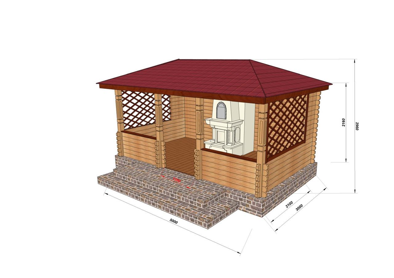 Строительство беседок деревянных из профилированного бруса 3х5
