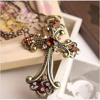 Кулон Крестик с камнями винтажный