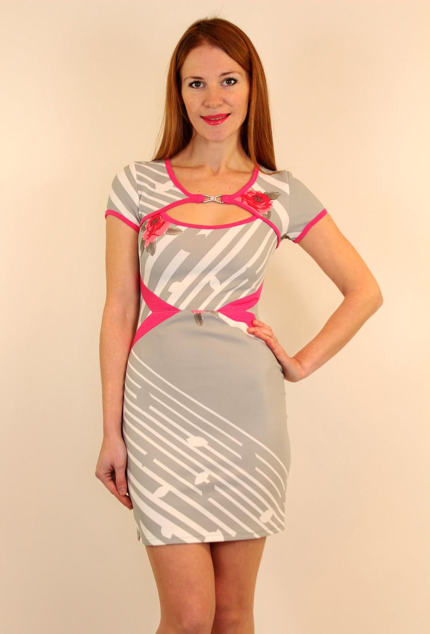 Нарядное платье - футляр с розами 42-48 р ( серый, розовый )