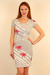 Приталенное короткое платье 42-48 р ( пудра, серый )