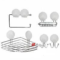 Набор аксессуаров (полочка угловая, мыльница, 2 крючка, бумагодержатель) из хромированной стали