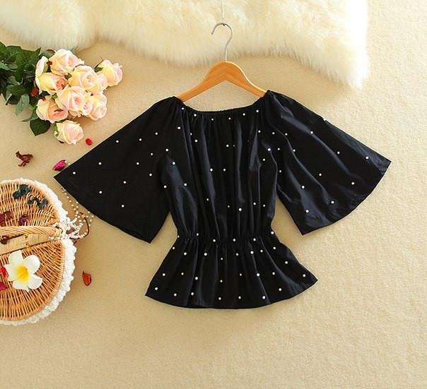 Блуза на резинке с кружевом