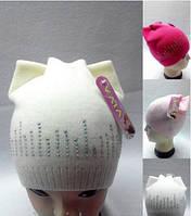 Детская шапка Котик со стразами