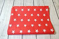 Лоскут ткани №159  с белыми звёздами на красном фоне