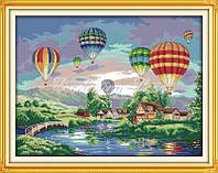 Воздушные шары Набор для вышивки с печатью на ткани