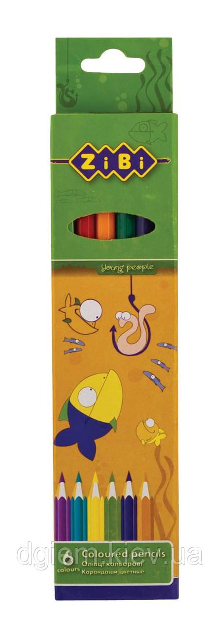 Олівці кольорові STANDARD ZiBi 6кол