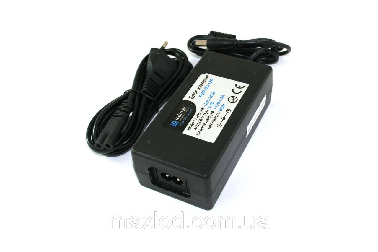 БЖ 12В 60Вт LEDMAX PSP-60-12P + шнур живлення PREMIUM