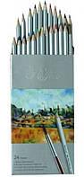 Карандаши цветные акварельные набор 24 цв. с кисточкой Марко (Marco)
