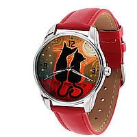 Наручные часы «Котики на закате» красный