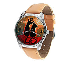 Наручные часы «Котики на закате» кремовый, фото 1