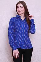 Классическая блуза из штапеля в розовый горошек