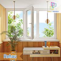 "Пластиковая трехстворчатая лоджия Rehau Ecosol-Design Киев 3000x1450 ""Окна Маркет"", фото 1"