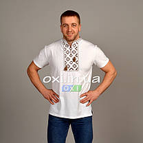 "Футболка вышиванка белая ""золотой ромб"" KRAYKA, фото 2"