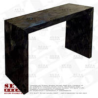 Чёрный консольный стол оплетённый волокнами из абаки (банановое волокно, мани́льская пенька́) ламинированный