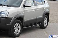 Hyundai Tucson JM 2004+ гг. Боковые площадки Allmond Black (2 шт., алюминий)