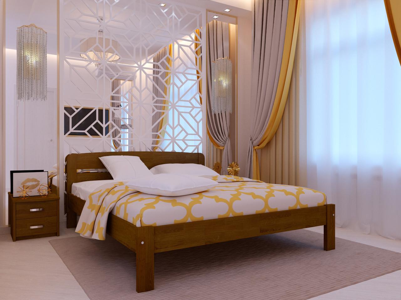 Ліжко двоспальне з натурального дерева в спальню Октавія 1 (бук)160*200 Неомеблі