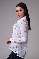 Блузка-рубашка Шифоновая белая скрипичный ключ