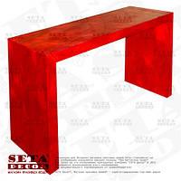 Красный стол оплетённый волокнами из абаки (банановое волокно, мани́льская пенька́) ламинированный