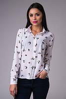 Блузка-рубашка Шифоновая белая птичка