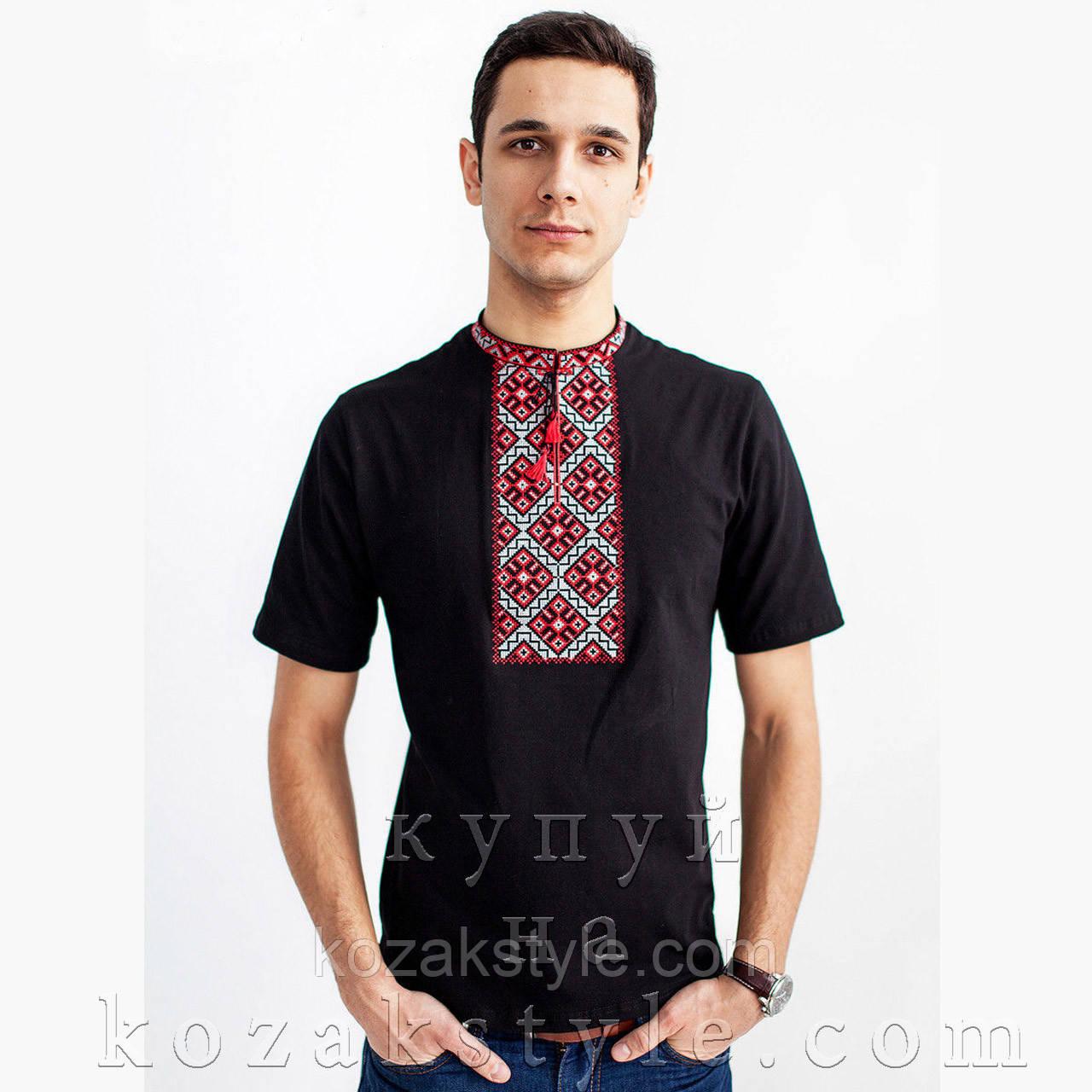Трикотажна вишиванка Козацька чорна