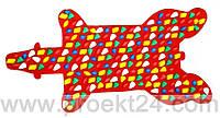Массажный коврик-дорожка Медведь с цветными камнями 100*50 см